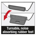 Turnable, noise-absorbing rubber feet