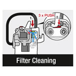 Integrated filter cleaning